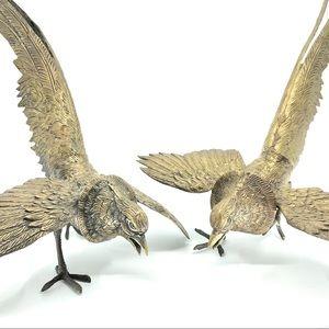 2 Vintage Brass Bronze Fighting Pheasant Birds